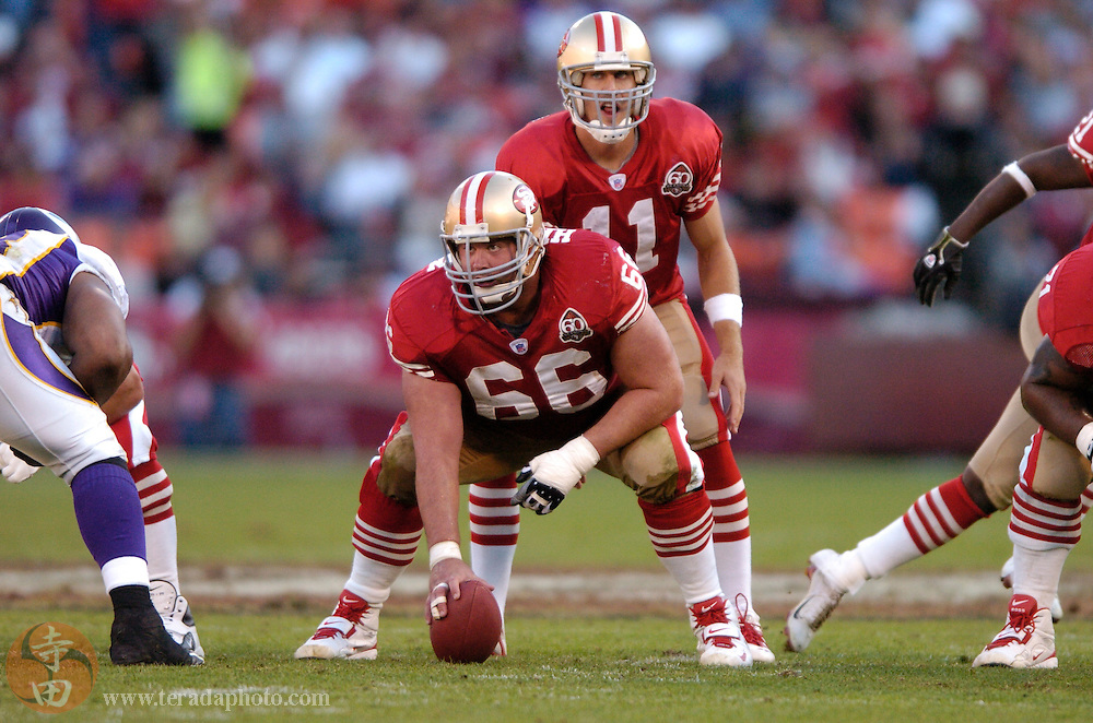 Nov 5, 2006 San Francisco, CA, USA: San Francisco 49ers offensive guard Eric Heitmann (66) prepares to snap the football to quarterback Alex Smith (11) during the second half against the Minnesota Vikings at Monster Park. The 49ers defeated the Vikings 9-3.