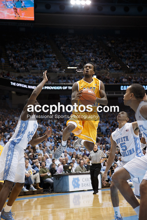 CHAPEL HILL, NC - DECEMBER 15: Miguel Paul #0 of the East Carolina Pirates scores during a game against the North Carolina Tar Heels on December 15, 2012 at the Dean E. Smith Center in Chapel Hill, North Carolina. North Carolina won 93-87.  *** Local Caption *** Miguel Paul