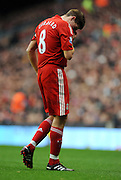 Steven Gerrard's Frustration during the Barclays Premier League match between Liverpool and Manchester City at Anfield - 21/11/09