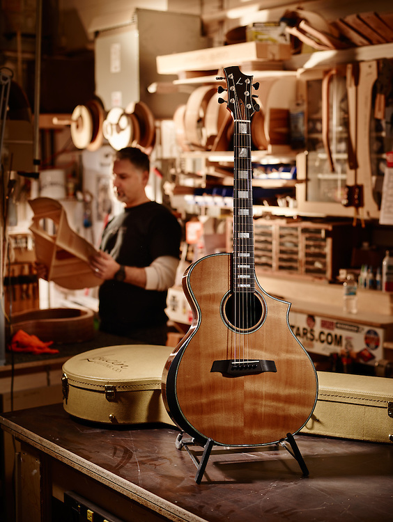 A hand crafted custom built acoustic guitar in Oakville ontario Shot on a PhaseOne IQ180.