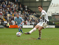 Photo: Leigh Quinnell.<br /> Notts County v Bury. Coca Cola League 2. 06/05/2006.<br /> Notts County captain Julian Baudet scores the penalty that keeps them in the football league.