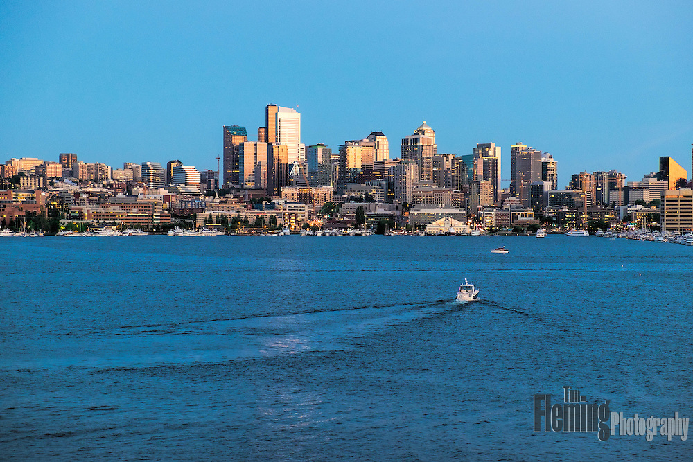View of the Seattle skyline across Lake Union from Gasworks Park.