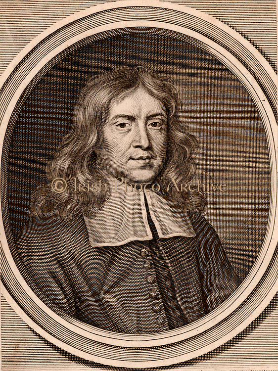 Thomas Sydenham (1624-1689) English physician born at Wynford Eagle, Dorset.  In his medical practice he separated Scarlatina from Measles, popularised the use of Jesuit's Bark (Cinchona) in the treatment of fevers, and revived the Hippocratic practice of observation.   Engraving by Abraham Blooteling (1634-1698) after the portrait by Mary Beale (1632-1597) a pupil of Lely.