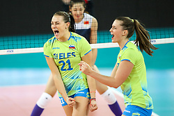 Tina Grudina and Iza Mlakar of Slovenia celebrate during the volleyball match between National team of Slovenia and China in Preliminary Round of Womens U23 World Championship 2017, on September 12, 2017 in SRC Stozice, Ljubljana, Slovenia. Photo by Morgan Kristan / Sportida