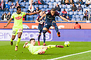 Kylian Mbappe (psg) and Lassana Coulibaly (ang) and Aka Kanga (ang) during the French Championship Ligue 1 football match between Paris Saint-Germain and SCO Angers on march 14, 2018 at Parc des Princes stadium in Paris, France - Photo Pierre Charlier / ProSportsImages / DPPI