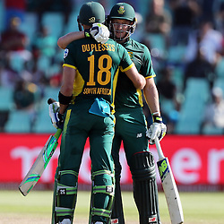 Faf du Plessis of the (South African Proteas) with David Miller of the (South African Proteas) during the 2nd ODI Momentum One-Day International (ODI) series South African and Sri Lanka at Kingsmead, Durban, South Africa.1st February 2017 - (Photo by Steve Haag)