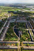 Nederland, Zuid-Holland, Leidschendam, 09-05-2013; De Prinsenhof, nieuwbouwwijk uit de jaren zestig, overloopgebied voor Den Haag. Basiontwerp is rechthoekig hof bestaande uit dubbele ring van woningen (middelhoogbouw) met daarbinnen voorzieningen in het groen. Wederopbouwgebied.<br /> New residential area built in the sixties, overflow area for The Hague. Basic design is rectangular court with a double ring of housing (medium-rise) and green courtyard in the middle. Reconstruction area.<br /> luchtfoto (toeslag op standard tarieven)<br /> aerial photo (additional fee required)<br /> copyright foto/photo Siebe Swart