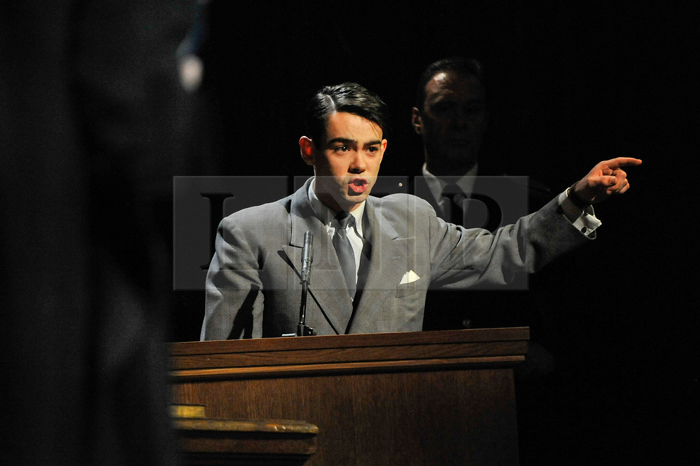 "© Licensed to London News Pictures. 20/10/2017. London, UK. Jack McMullen as Leonard Vole, the accused, in the witness stand.  Photocall for ""Witness for the Prosecution"", by Agatha Christie, directed by Lucy Bailey, at London County Hall.  The play opens 23 October. Photo credit : Stephen Chung/LNP"