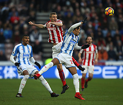Darren Fletcher of Stoke City (C) and Thomas Ince of Huddersfield Town in action - Mandatory by-line: Jack Phillips/JMP - 26/12/2017 - FOOTBALL - The John Smith's Stadium - Huddersfield, England - Huddersfield Town v Stoke City - English Premier League