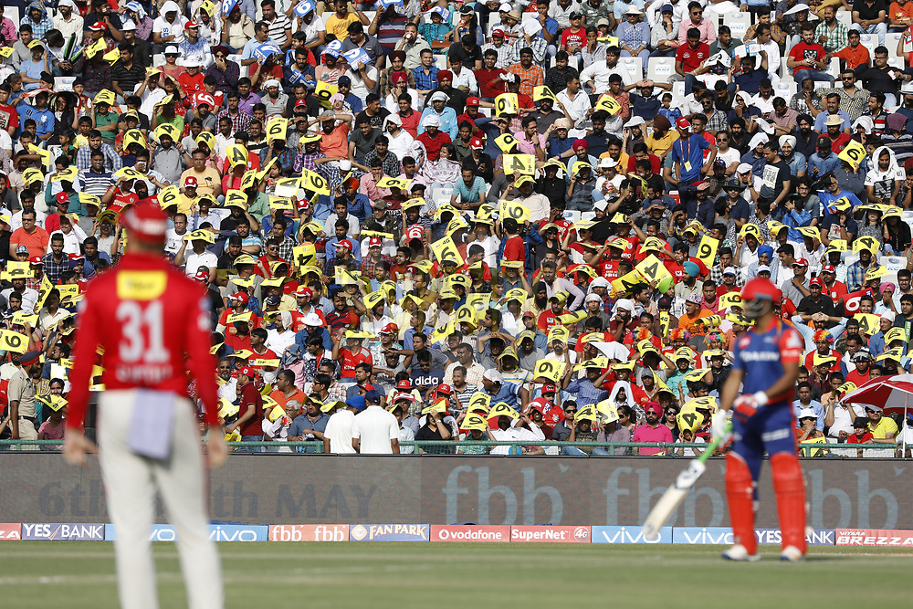 Fans during match 36 of the Vivo 2017 Indian Premier League between the Kings XI Punjab and the Delhi Daredevils  held at the Punjab Cricket Association IS Bindra Stadium in Mohali, India on the 30th April 2017<br /> <br /> Photo by Arjun Singh - Sportzpics - IPL