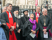 © Licensed to London News Pictures. 03/09/2014. London, UK The Archbishop of Canterbury, Justin Welby, attends an inter-faith vigil outside Westminster Abbey. Other speakers include Imam Ibrahim Mogra of the Muslim Council of Britain, Rabbi Laura Janner-Klausner of the Movement for Reform Judaism and Ayatollah Dr Sayyid Fadhil H Al-Milani.. Photo credit : Stephen Simpson/LNP