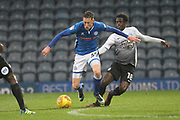 Joe Bunney is fouled which leads to the second goal during the EFL Sky Bet League 1 match between Rochdale and Peterborough United at Spotland, Rochdale, England on 25 November 2017. Photo by Daniel Youngs.