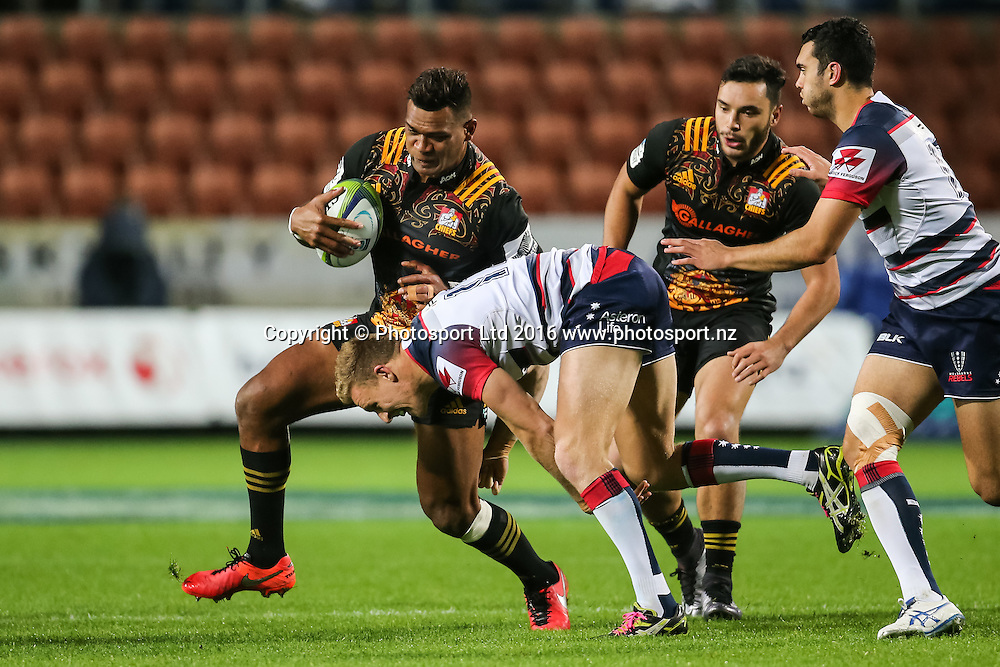 Chiefs centre Seta Tamanivalu in action during the Super Rugby match - Chiefs v Rebels played at FMG Stadium Waikato, Hamilton, New Zealand on Saturday 21 May 2016. <br /> <br /> Copyright Photo: Bruce Lim / www.photosport.nz