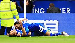 Leonardo Ulloa of Leicester City celebrates with Riyad Mahrez after scoring his sides third goal   - Mandatory by-line: Matt McNulty/JMP - 24/04/2016 - FOOTBALL - King Power Stadium - Leicester, England - Leicester City v Swansea City - Barclays Premier League