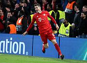 Robert Lewandowski of Bayern Munich celebrates his goal during the UEFA Champions League, round of 16, 1st leg football match between Chelsea and Bayern Munich on February 25, 2020 at Stamford Bridge stadium in London, England - Photo Juan Soliz / ProSportsImages / DPPI