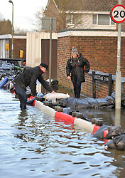 © Licensed to London News Pictures. Date 9 Jan 2014. Oxford. Bullstake close under siege from flood water. River Thames floods at Oxford causing the closure of the Abingdon and Botley roads.. Photo credit : MarkHemsworth/LNP