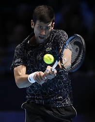 2018?11?14?.       ?????1???——ATP???????????????????.      11?14??????????? .      ???????????2018ATP????????????????????????????2?0???????????.       ????????.(SP)BRITAIN-LONDON-TENNIS-ATP WORLD TOUR FINALS-DAY 4 .(181114) -- LONDON, Nov. 14, 2018  Novak Djokovic of Serbia competes during his singles match against Alexander Zverev of Germany during Day 4 of the 2018 ATP World Tour Finals at the O2 Arena in London, Britain on Nov. 14, 2018. (Credit Image: © Xinhua via ZUMA Wire)