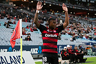 SYDNEY, AUSTRALIA - MARCH 30: Western Sydney Wanderers midfielder Roly Bonevacia (28) takes a corner at round 23 of the Hyundai A-League Soccer between Western Sydney Wanderers FC and Melbourne City FC on March 30, 2019 at ANZ Stadium in Sydney, Australia. (Photo by Speed Media/Icon Sportswire)