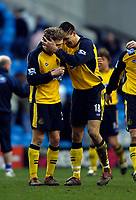 Photo: Jed Wee.<br />Manchester City v Wigan Athletic. The Barclays Premiership. 18/03/2006.<br /><br />Wigan's Paul Scharner (R) celebrates with Jimmy Bullard at the final whistle.