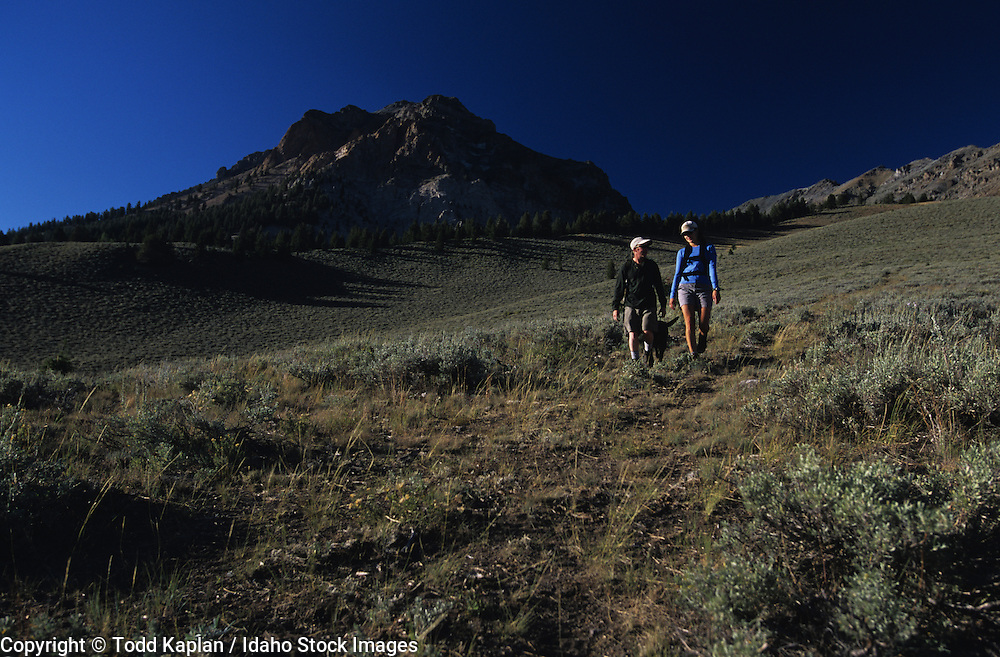 Idaho. Woman and her dog hiking in Boulder Mountains.
