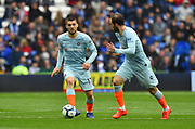 Mateo Kovacic (17) of Chelsea on the attack with Gonzalo Higuain (9) of Chelsea during the Premier League match between Cardiff City and Chelsea at the Cardiff City Stadium, Cardiff, Wales on 31 March 2019.