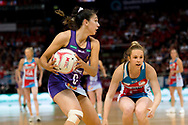 SYDNEY, AUSTRALIA - AUGUST 24: Jemma Mi Mi of the Queensland Firebirds looks to pass the ball during the round 14 Super Netball match between the Swifts and the Queensland Firebirds at Qudos Bank Arena on August 24, 2019 in Sydney, Australia.(Photo by Speed Media/Icon Sportswire)