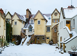 Historic White Horse Close on the Royal Mile after heavy snow in Edinburgh, Scotland, United Kingdom