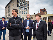 20 MAY 2019 - DAVENPORT, IOWA: BETO O'ROURKE, left, PAUL RUMLER, CEO of Quad Cities Chamber of Commerce and KYLE CARTER, also from the Chamber of Commerce, look at flood damage in Davenport. O'Rourke, running to be the 2020 Democratic nominee for the US Presidency, has made climate change a central part of his campaign. He toured flood damage in Davenport Monday. The Mississippi River flooded through downtown Davenport on April 30 and much of downtown is still recovering from the flood.      PHOTO BY JACK KURTZ