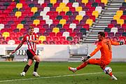 Goal 2-0 Brentford forward Marcus Forss (15) scores a goal during the EFL Sky Bet Championship match between Brentford and Huddersfield Town at Brentford Community Stadium, Brentford, England on 19 September 2020.