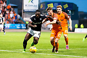 Dundee forward Roarie Deacon (#21) defends the ball from Dundee United defender Jamie Robson (#17) during the Betfred Scottish Cup match between Dundee and Dundee United at Dens Park, Dundee, Scotland on 9 August 2017. Photo by Craig Doyle.