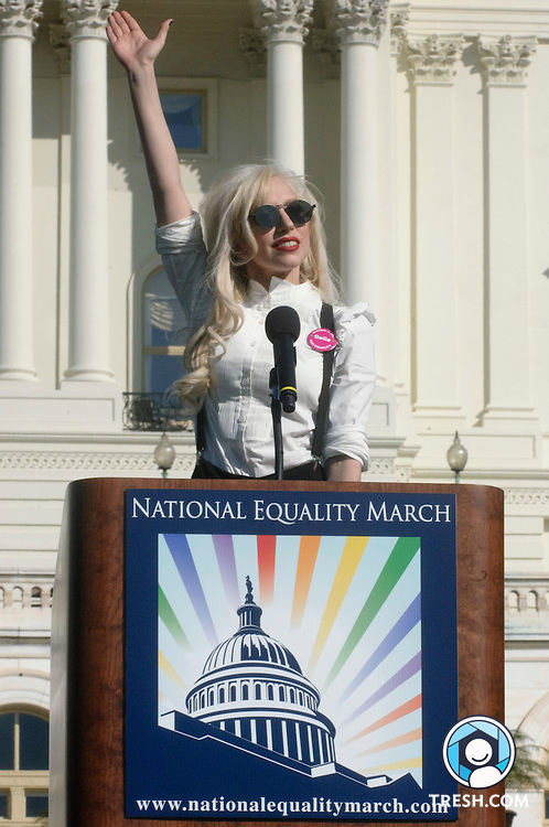 Lady Gaga waves to the crowd prior to her speech at the rally on the U.S. Capitol grounds following the National Equality March, October 11, 2009 in Washington, DC.