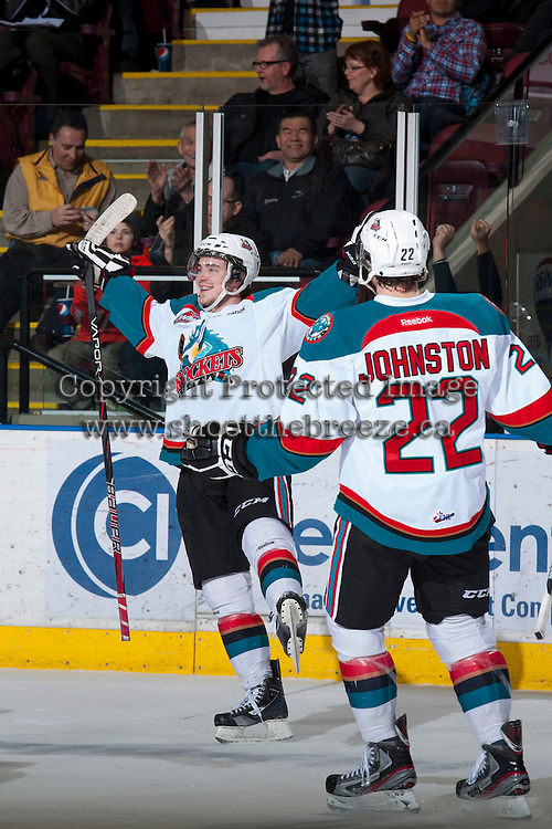 KELOWNA, CANADA - JANUARY 24: Jesse Lees #2 of the Kelowna Rockets celebrates a goal against the  Seattle Thunderbirds at the Kelowna Rockets on January 24, 2013 at Prospera Place in Kelowna, British Columbia, Canada (Photo by Marissa Baecker/Shoot the Breeze) *** Local Caption ***