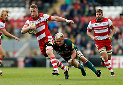 Gloucesters' Ruan Ackermann and Leicester Tigers' Luke Hamilton during the Aviva Premiership match at Welford Road, Leicester.