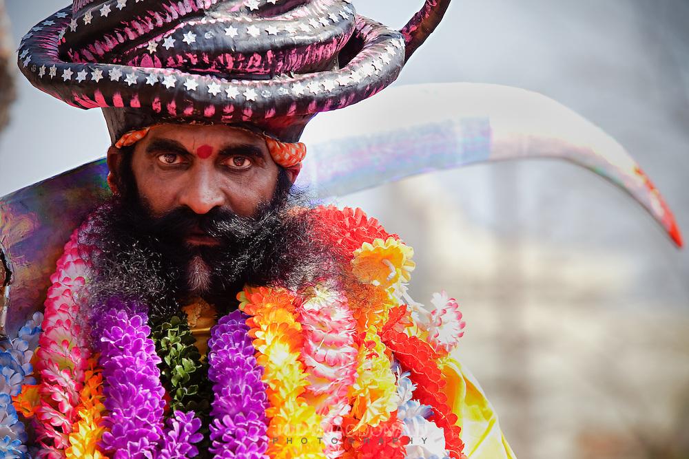 Man dresses up in elaborate costume for kumbh mela