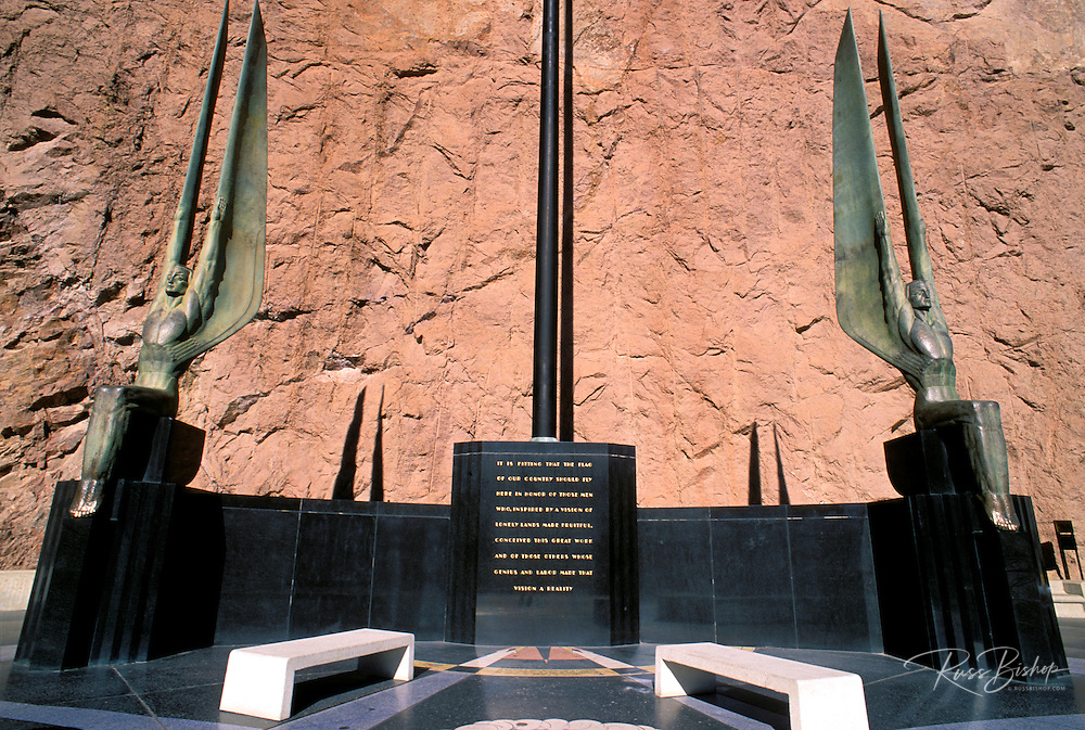 Bronze angels on a momument commemorating the building of Hoover Dam, Hoover Dam National Historic Landmark, Nevada