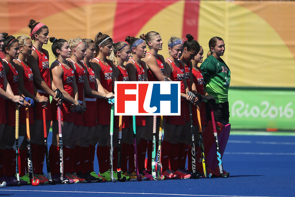 RIO DE JANEIRO, BRAZIL - AUGUST 15:  United States stands for the national anthems before the quarter final hockey game against Germany on Day 10 of the Rio 2016 Olympic Games at the Olympic Hockey Centre on August 15, 2016 in Rio de Janeiro, Brazil.  (Photo by Christian Petersen/Getty Images)