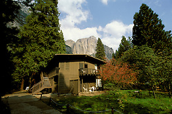 CA: Yosemite National Park, Yosemite Lodge and surrounding scenic view.Photo Copyright: Lee Foster, lee@fostertravel.com, www.fostertravel.com, (510) 549-2202.cayose202