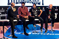 Sport journalist Antonio Lobato, Dominion Bilbaobasket player Alex Mumbru, Tv host Iñaki Lopez and comedian Goyo Jimenez during the presentation of the new season of La Liga Endesa 2016-2017 in Madrid. September 20, 2016. (ALTERPHOTOS/Borja B.Hojas)