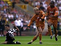 Photo: Greig Cowie.<br /> 08/08/2003.<br /> Pre-Season Football Friendly. Wolverhampton Wanderers v Boavista.<br /> Steffen Iversen fires in a shot on goal