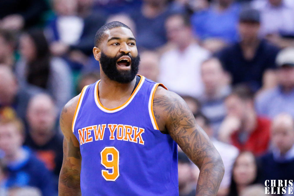 09 December 2015: New York Knicks forward Kyle O'Quinn (9) reacts during the Utah Jazz 106-85 victory over the New York Knicks, at the Vivint Smart Home Arena, Salt Lake City, Utah, USA.