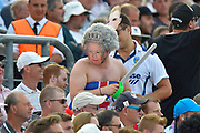 A fan holding a toy sword wearing a mask of Queen Elizabeth II during the 5th International Test Match 2019 match between England and Australia at the Oval, London, United Kingdom on 14 September 2019.