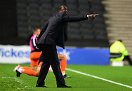Jimmy Floyd Hasselbaink, the manager of Northampton Town on the touchline .EFL Skybet football league one match, MK Dons v Northampton Town at the Stadium MK in Milton Keynes on Tuesday 26th September 2017.<br /> pic by Bradley Collyer, Andrew Orchard sports photography.