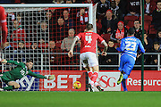 Queens Park Rangers midfielder Junior Hoilett scores the opening goal during the Sky Bet Championship match between Bristol City and Queens Park Rangers at Ashton Gate, Bristol, England on 19 December 2015. Photo by Jemma Phillips.