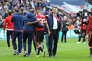 Manchester United Manager Louis van Gaal after the game during the The FA Cup semi final match between Everton and Manchester United at Wembley Stadium, London, England on 23 April 2016. Photo by Phil Duncan.