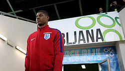 Marcus Rashford of England arrives at The SRC Stozice Stadium ahead of the World Cup Qualifier against Slovenia - Mandatory by-line: Robbie Stephenson/JMP - 10/10/2016 - FOOTBALL - SRC Stozice - Ljubljana, England - England Press Conference