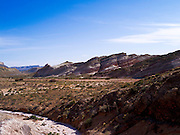 The colorful Bentonite Hills and Wood Bench near Hanksville, Utah.