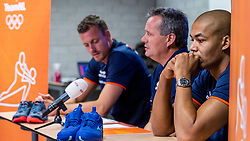 06-09-2018 NED: Press conference Netherlands, Doetinchem<br /> Press conference before the first match against Argentina / Nimir Abdelaziz #14 of Netherlands, Coach Gido Vermeulen, Jeroen Rauwerdink #10 of Netherlands