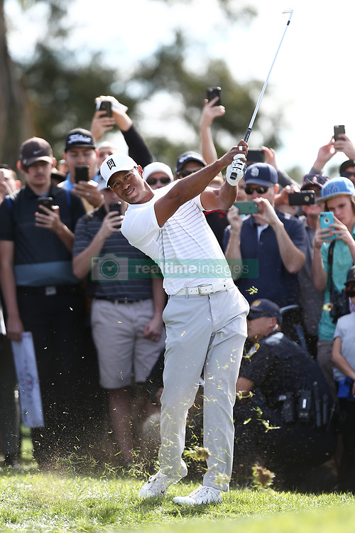 January 27, 2018 - San Diego, California, United States - Tiger Woods hits out of the rough on the 18h hole during the third round of the 2018 Farmers Insurance Open at Torrey Pines GC. (Credit Image: © Debby Wong via ZUMA Wire)