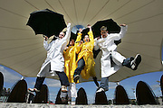 "29/8/2005.Pictured at announcement of the upcoming musical ""Singin' in the Rain"" was Michael O'Brien from  AOL, sponsors of the show (far right), with the cast members from Flaggy Lane Productions from left Damien Walsh Michelle Quilty and Cliona Ryan.  Singin' in the Rain will play in the Theatre Royal Waterford for six nights from Monday 5th to Saturday 10th September, tickets available on 051-874402. The show uses 2,000 gallons of water in the most spectacular event ever to be staged in Waterford! The audience are asked to bring their brollies and wellies and sing and dance along with Flaggy Lane!.. ..""The sponsorship came about through a new internal AOL fund created to support employees involved in local community or sports activities.  I applied for funding for the play and was delighted to be successful, it has made a huge difference to the production"", Michael O'Brien from AOL commented at the announcement... ..The monies allocated to Flaggy Lane will go towards posters and fliers publicising the show, costume hire and administration of the show.  .. ..""Without the assistance of local companies like AOL, productions like this can be a lot harder to get off the ground, we hope AOL enjoy the show as much as we will"", added Damien Walsh Chairman of Flaggy Lane Productions..Picture Dylan Vaughan"