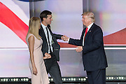 GOP Presidential candidate Donald Trump greets his daughter Ivanka Trump and son-in-law Jared Kushner after accepting the party nomination for president on the final day of the Republican National Convention July 21, 2016 in Cleveland, Ohio.